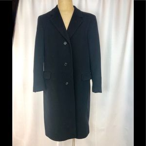 Crown Collection Black Wool Overcoat 44L Long